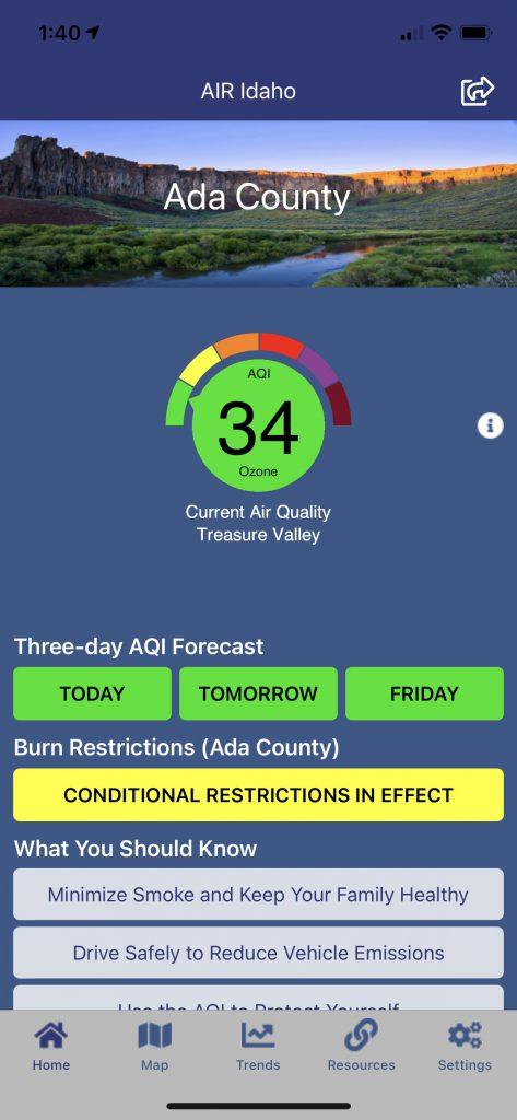 Screenshot of DEQ's mobile app, AIR Idaho.