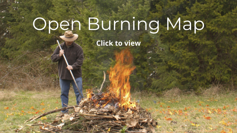 Click the image of man burning yard waste to view the Open Burning Map.