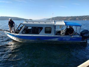 DEQ Research boat on Coeur d'Alene Lake.